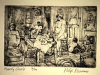 PHILIP REISMAN, The Family, 1928, 16/100, Etching, NYC tenement immigrant life