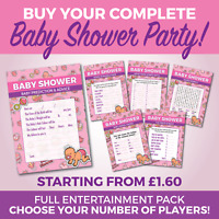 Baby Shower 6 Game Complete Party Set - Girls - A6 Game Cards - TOON design