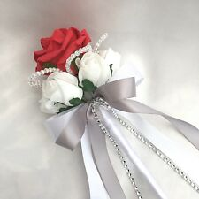 FLOWERGIRLS WAND, RED & WHITE ROSES,  CRYSTALS, ARTIFICIAL WEDDING FLOWERS