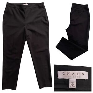CHAUS New York Black Tapered Leg Elegant Work Trousers Size 14 UK / 12 US