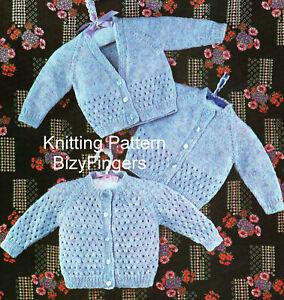 """Baby Girls Raglan Eyelet Cardigan 3 designs KNITTING PATTERN DK 18 - 20"""" Lacy"""