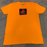 Sony PlayStation Logo Short Sleeve T-Shirt, Size: Large, Yellow, New