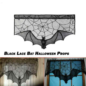 Lace Bat Halloween Props Party Scary Window Curtains Indoor Decorations Black