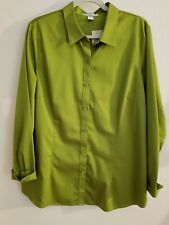 """New COLDWATER CREEK Size 1X Women's 18 """"The perfect no iron shirt"""" Green Blouse"""
