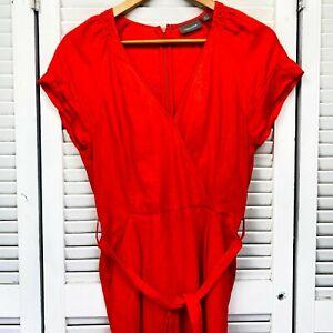 Sussan Linen Jumpsuit Sz 8 Orange V Neck Waist Tie Back Tie Slash Pockets