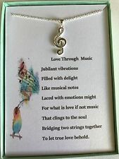 Sterling Silver necklace w/musical note pendant, Love Through Music poem