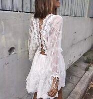 BOHO HIPPIE IBIZA MINIKLEID KLEID STICKEREI SPITZE EMBROIDERED LACE DRESS S M L