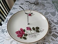 Vintage cake stand Red rose pattern Staffordshire pottery