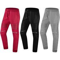 NEW Men Biker Fleece Stacked Jogger Pants Knee Zipper 3 Pockets Elastic Waist