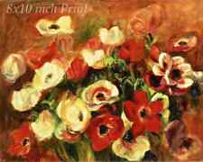 A Spray of Anemones by Auguste Renoir - Flowers Blooms 8x10 Print Picture 1709