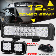 "12"" 72W +2X 4"" Pods Cube CREE LED Work Light Bar Spot Flood Offroad Truck UTV 20"