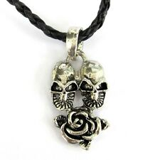 Rose Flower Pendant Jewelry Silvertone Alloy Metal Twin Skulls
