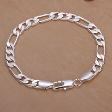 Solid 925 Silver Men's Women's Italian Classic Link Chain Bangle Bracelet Gifts