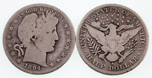 Lot of two 1894 (P + S) Barber 50C Half Dollars in Good Condition, Natural Color