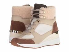 Michael Kors Liv Bootie Canvas Wedge Cream Dark Caramel Sneakers Size 9.5