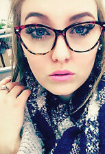 Cat Eye Eyeglasses Square Clear Lens Women Brown Retro Vintage Fashion