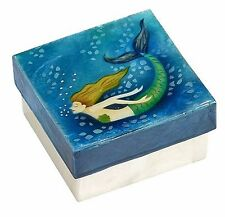 """Capiz Shell Box with Swimming Mermaid, Airbrushed By Hand, Decorative Box, 3"""""""