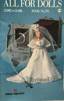 Pattern All For Dolls Bride Barbie Baby Doll Dress Bunting Crochet Knit Vintage