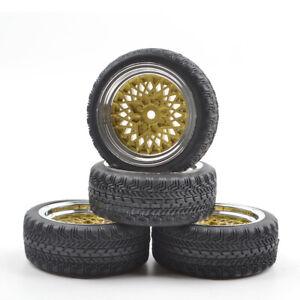 1/10 RC On-Road Car 12mm Hex Flat Racing Rubber Tires/Wheel Rim Tamiya