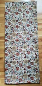 """Pottery Barn Table Runner 18"""" x 90"""" Cotton Yellow Red Floral EUC 2010 Warm Color"""