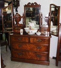 Antique Victorian English Walnut Triple Mirrored Dresser/ Chest Circa 1880