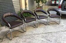 Giotto Stoppino acciaio & simil pelle 1970 Chair's 1970 Italia
