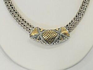 """John Hardy 18K & Sterling Silver Gold Dot Slide Necklace Lg Sz 2""""- Really Nice !"""