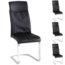 4er Set Schwingstühle Kunstleder schwarz gepolstert-Freischwinger Esszimmerstuhl