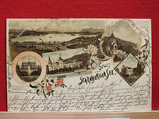 Farblitho - Gruss vom Starnberger See - gel 1899 - ua. König Ludwig Kapelle   m1