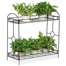 New 2 Tier Metal Flower Pot Holder Plant Stand w/Tray Desig Garden Décor Shelf
