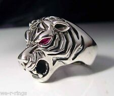 Tiger Head Ring with Red Gem Eyes Sterling Silver 925 RG0022/S