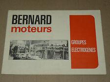 Prospectus Moteur BERNARD Groupe Electro 1975  Motor Tracteur traktor brochure