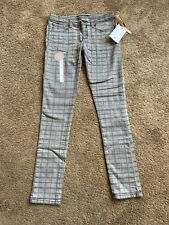 Element Denim Jeans Gray Plaid Painted Grunge Gray Black Skinny Fit 9 NEW