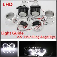 "2x 2.5"" Angel Eye Bi-Xenon Headlight Projector Lamp Lens w/Light Guide&Inverter"