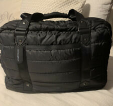 Cynthia Rowley Quilted Black Travel Duffle Zip Bag