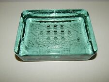Solid Green Recycled Glass Soap Dish Vintage Style Threshold