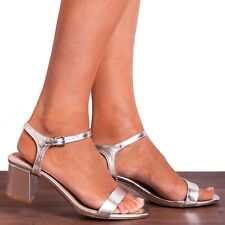 SILVER METALLIC PEEP TOE ANKLE STRAP BLOCK LOW HEELED HEELS STRAPPY SANDALS SIZE