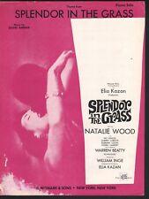 Splendor in the Grass 1961 Natalie Wood Warren Beatty (first film) Sheet Music