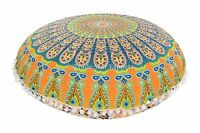"Ethnic Mandala Round Floor Pillow Cover 32"" Boho Cotton Cushions With Insert"