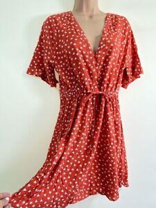 NEXT red kitsch heart print tea dress size 8 euro 36