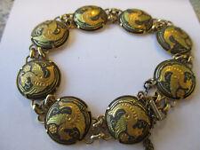 Vintage Spanish Toledo gold plated Damascene  linked Tennis Cocktail Bracelet.