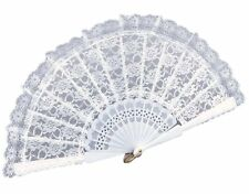 White Folding Lace Hand Fan Hand Holding Fan Hand Held  For Party