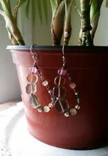 SILPADA Sterling Silver Chalcedony Smoky Quartz & Glass Dangle Earrings W2158