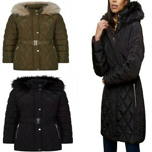 Ex Store Womens LONG PADDED QUILTED BELTED FAUX FUR HOODED JACKET Coat 8-22
