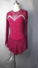 wine red ice skating dress competition for women custom figure ice clothing yike