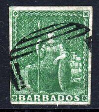 BARBADOS 1858 Half Penny Green Britannia No Watermark IMPERFORATE SG 8 VFU