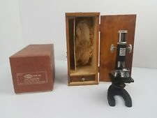 Antique Research Mark XII Microscope 100X-500X Orig. Wooden Case, Box & 8 Slides