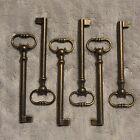 "(6) - Hollow Barrel Dark Brass Plated Skeleton Keys 4"" Vintage Look..Set of 6"