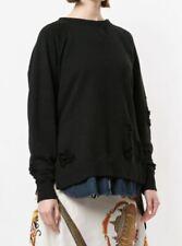 Mihara Yasuhiro Distressed Black Sweatshirt Denim Womens 40 Shirt 82463766-1