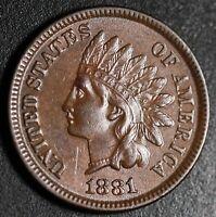 1881 INDIAN HEAD CENT - With LIBERTY & Near 4 DIAMONDS - AU UNC